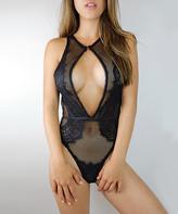 Just Sexy Women's Undergarment Bodysuits Black/Black - Black Sheer Fishnet Cutout Thong Back Bodysuit - Women & Plus