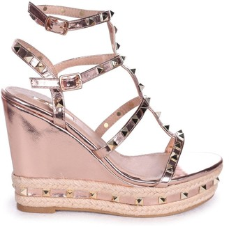 Linzi SHANON - Rose Gold Nappa Wedge With Studded Detail, Ankle Strap & Rope Trim