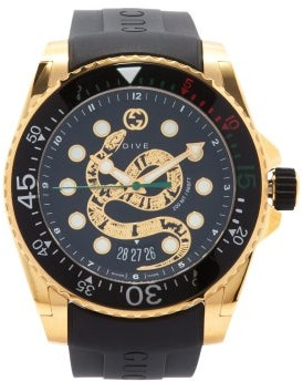 Gucci Dive Kingsnake-embossed Gold-pvd Watch - Black Gold
