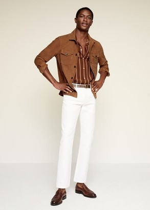 MANGO MAN - Striped flowy shirt brown - XL - Men