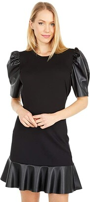 MICHAEL Michael Kors T-Shirt w/ Leather Sleeve (Black) Women's Clothing