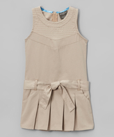 Eddie Bauer Khaki Pleated Tie-Waist Dress - Tween