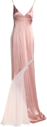 Galvan Chiffon-paneled Satin Gown
