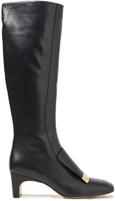 Sergio Rossi Embellished Leather Knee Boots