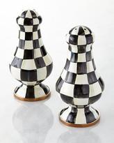 Mackenzie Childs Courtly Check Enamel Large Salt & Pepper Shakers