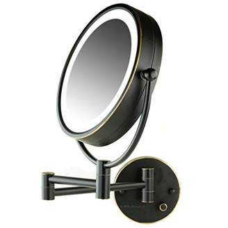 Ovente Dual Sided Wall Mounted Vanity Mirror 8.5 Inch with Hardwired Electrical Connection and Natural White LED Lights (MPWD3185BZ1X7X)