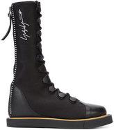 Yohji Yamamoto lace-up zip sneakers - women - Linen/Flax/Leather/rubber - 11