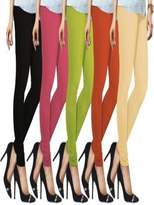 Liva Womens Cotton Spandex Jersey Leggings Combo Pack-5