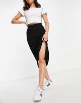 Thumbnail for your product : Monki Loa ribbed midi skirt in black