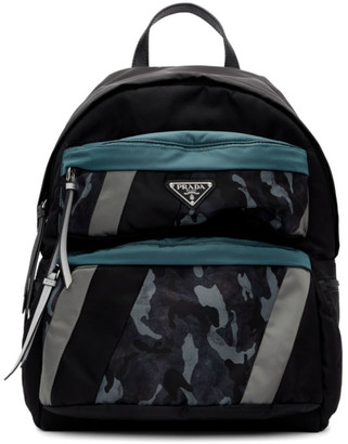 Prada Black and Blue Camouflage Backpack