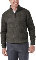 Haggar Men's Classic Fit Quarter-Zip Cable-Knit Sweater