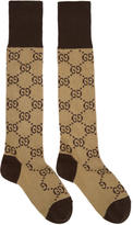 Gucci Beige and Brown Long GG Socks