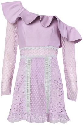 True Decadence Lilac Pastel Multi One Shoulder Mini Dress
