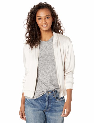 Majestic Filatures Women's Linen Long Sleeve Bomber with Silk Front