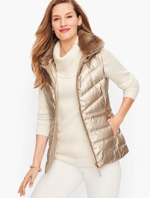 Talbots Faux Fur Collar Down Puffer Vest - Metallic