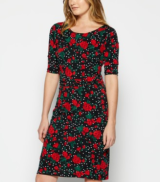 New Look StylistPick Floral Spot Pleated Waist Dress