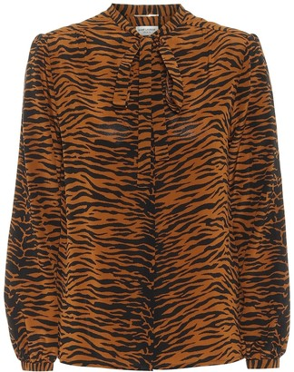 Saint Laurent Tiger-printed silk shirt