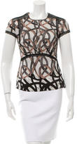 Yigal Azrouel Lace-Trimmed Silk Top w/ Tags