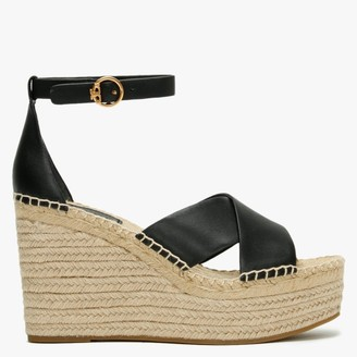 Tory Burch Selby Perfect Black Leather Wedge Espadrille Sandals