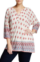 Lucky Brand Red Woodblock Border Blouse (Plus Size)