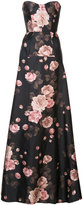 Rochas floral strapless fitted gown