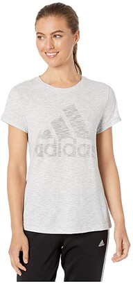 adidas Winners Short Sleeve Crew Tee (Green Tint Melange) Women's Clothing