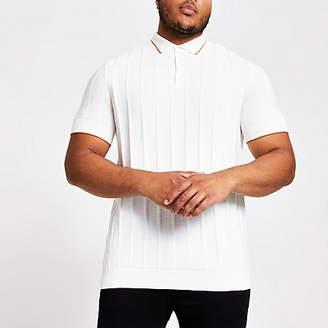 River Island Big and Tall ecru slim fit polo shirt
