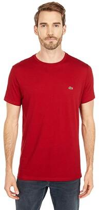 Lacoste Short Sleeve Pima Crew Neck Tee (White) Men's T Shirt