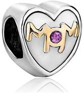 Charmed Craft Mother Mom Charms Crystal Heart Love Beads Fit Pandroa Bracelet