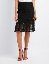 Charlotte Russe Ruffle-Trim Lace Pencil Skirt
