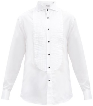 Brunello Cucinelli Pintucked-bib Cotton-twill Tuxedo Shirt - White