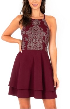 Speechless Juniors' Embellished Double-Layer Halter Dress