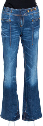 Roberto Cavalli Dark Blue Denim Light Wash Flared Jeans M