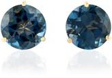 Artisan 18Kt Solid Yellow Gold London Blue Topaz Stud Earring Handmade Jewelry