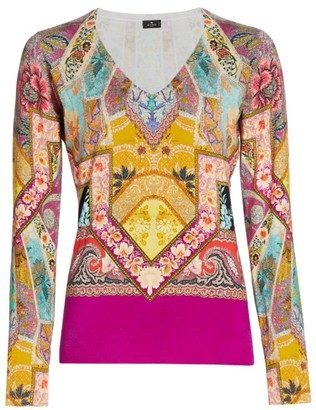 Etro Stained Glass Stretch-Silk Top