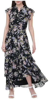 Calvin Klein Printed Short Sleeve Tiered Dress (Black Floral Combo) Women's Clothing