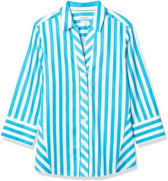 Foxcroft Women's 3/4 Sleeve Paige Awning Stripe Shirt