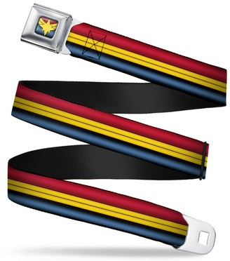 """Buckle Down Buckle-Down Seatbelt Belt - Captain Marvel Stripe Red/Gold/Blue - 1.5"""" Wide - 32-52 Inches in Length"""