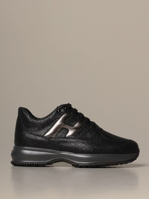 Hogan Interactive Glitter Sneakers With Rounded H
