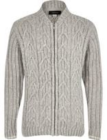 River Island Boys grey cable knit bomber cardigan