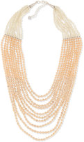 Nakamol Multi-Strand Pastel Crystal-Beaded Necklace, Peach/Neutral