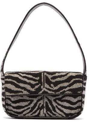 STAUD Tommy Zebra-stripe Beaded Shoulder Bag - Womens - Black White