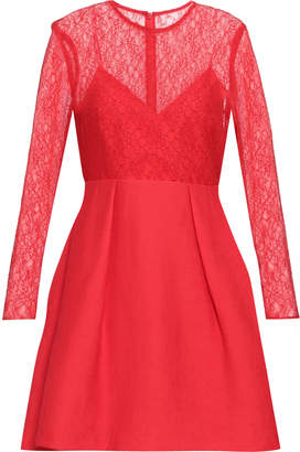 Sandro Flared Pleated Lace And Plisse-woven Mini Dress
