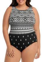 Longitude Plus Scoopback Highneck One-Piece Swimsuit