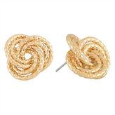 MONET JEWELRY Monet Gold-Tone Diamond-Cut Love Knot Button Earrings