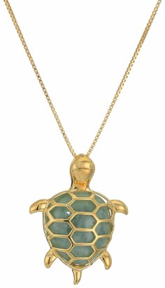 """Amazon Collection 18k Yellow Gold Plated Sterling Silver Genuine Green Jade Turtle Pendant Necklace 18"""""""