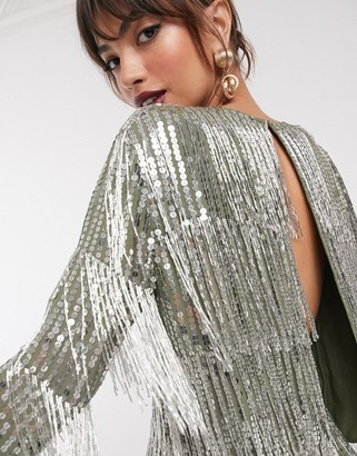 Asos Edition EDITION sequin & fringe open back top-Green
