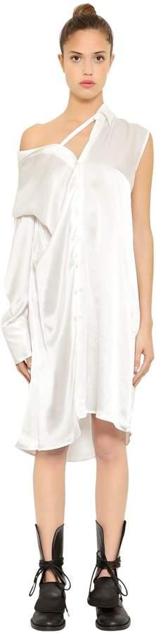 Ann Demeulemeester Asymmetrical Silk Satin Shirt Dress
