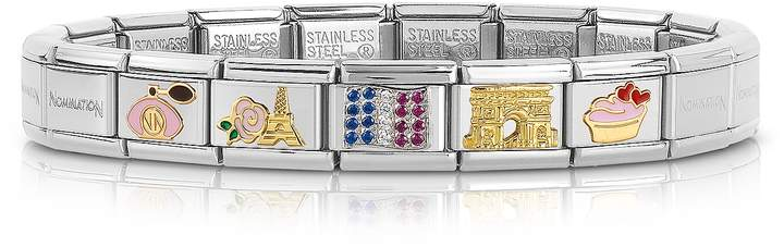 Nomination Classic France Golden Stainless Steel Bracelet w/Cubic Zirconia Flag