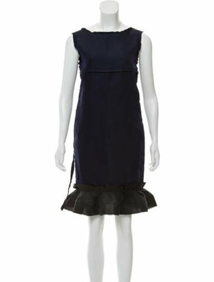 Lanvin Silk Sleeveless Dress Navy
